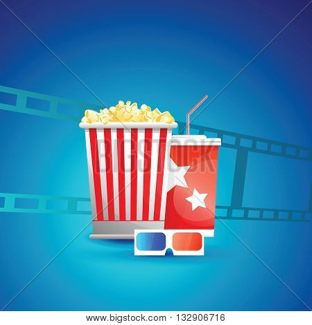 Popcorn box disposable cups for beverages with straw and 3D glasses.Icon for fast food cinema.Blue background with film .