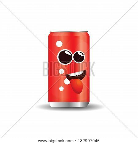 Cartoon aluminum beverage bank with amusing attractive face .Icon soda cans.