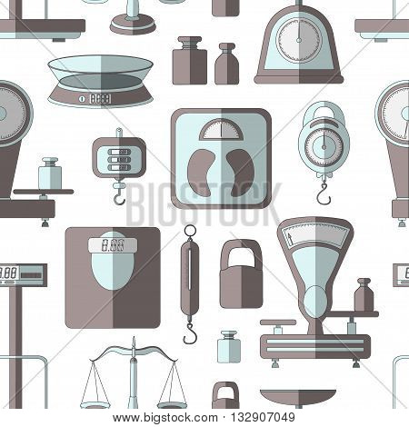 Set of scales pattern. Weight scales for trade pharmacy shopping measurement and other. Isolated vector illustration