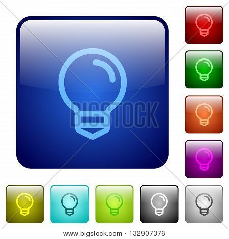 Set of light bulb color glass rounded square buttons