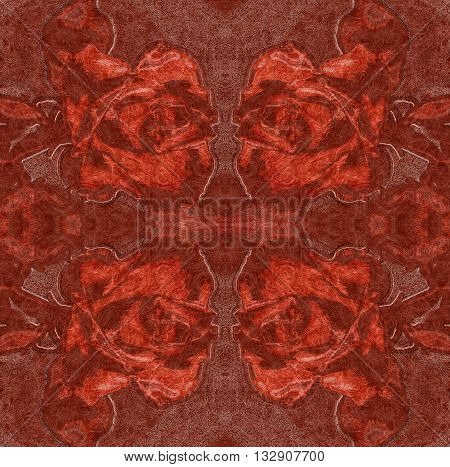 Embossed floral background with red roses resembling woven brocade fabric