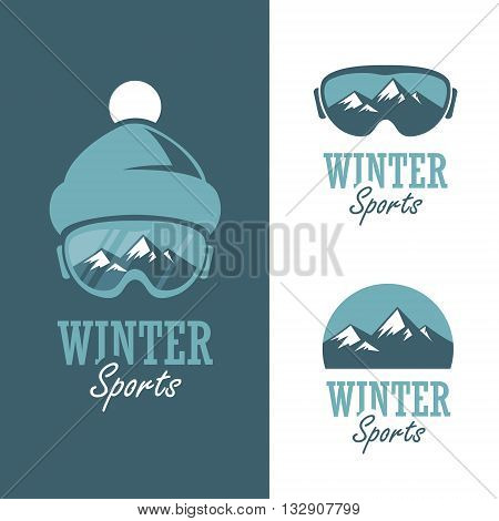 Three badges for winter sports with mountains ski mask and winter hat