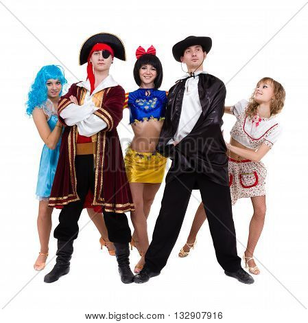 Attractive young Halloween couple, pirate and maiden costumes, isolated on white background in full length.