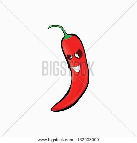 Hot pepper with cartoon face on a white background .chili pepper icon .