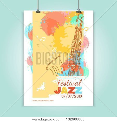 Jazz festival poster template jazz music cover saxophone live music hand drawn vintage vector illustration