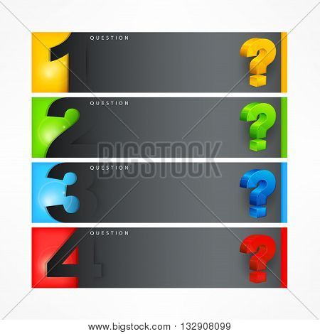 Question mark color template on white vector illustration