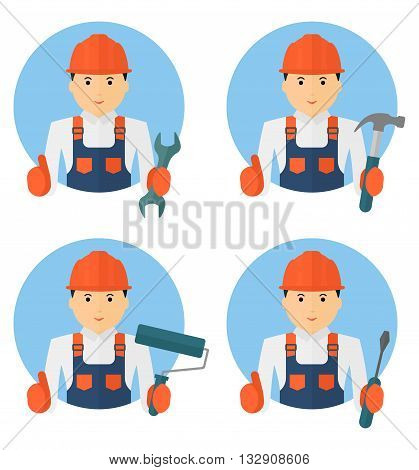 Set Of Young Cheerful Worker In Overalls With Tools