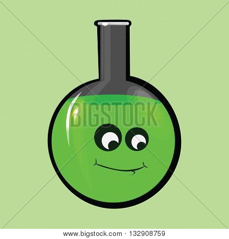 Round cartoon test tube with a beautiful face and green liquid .Icon chemical tubes.