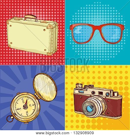 Travel pop art old camera vintage suitcase old compass hand drawn vector illustration