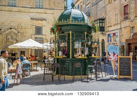 Valletta Malta - May 05 2016: Refreshment stand on the streets of Valletta Malta