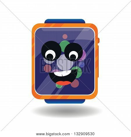 Modern smart watches in cartoon style with a smiling face.Icon Electronic hours.