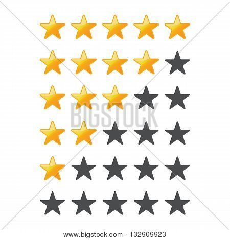 A set of stars for a rating on a white background.Yellow Stars .