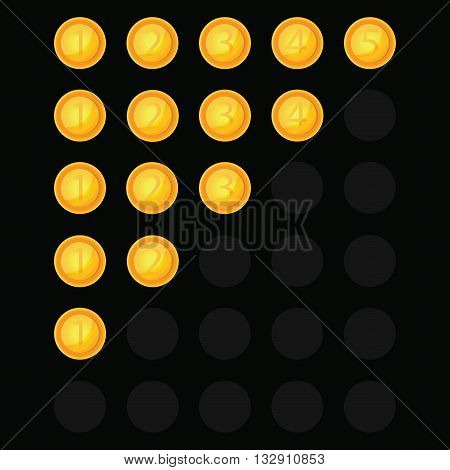 Identification rating of five characters.We put the assessment in the form of money on a black background.