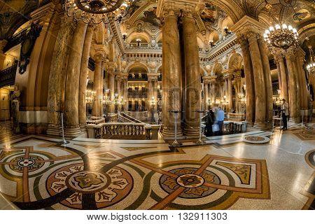 Paris, France - May 3, 2016: People Taking Pictures At Opera Paris