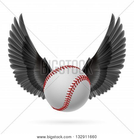 Realistic baseball emblem with black wings on white