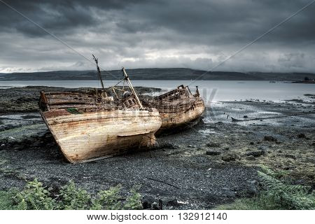 Three abandoned boats in Salen Isle of Mull Scotland