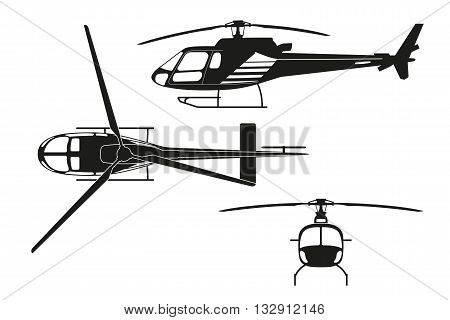 Black silhouette of helicopter on white background. Top view side view front view. Vector illustration