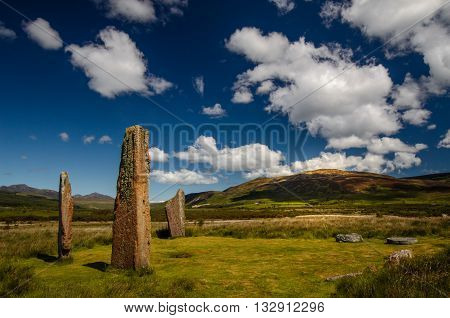 Machrie Moor Stones in beautiful weather Isle of Arran Scotland