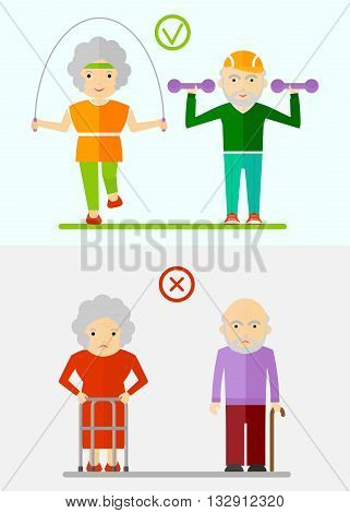 Elderly Couple Healthy And Sick