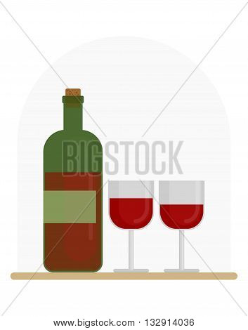 Wine And Two Glasses