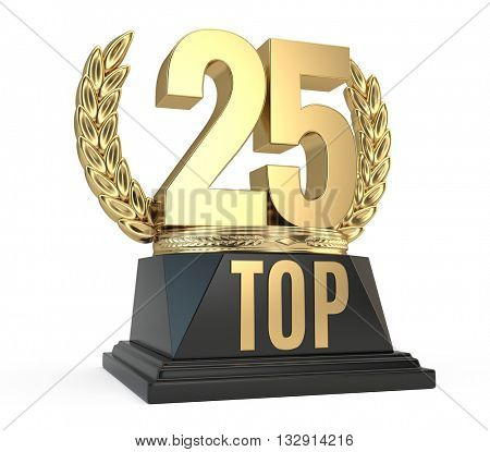 Top 25 twenty five award cup symbol isolated on white background. 3d render