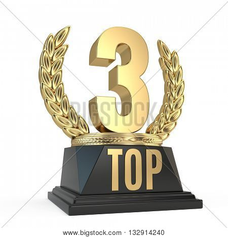 Top 3 three award cup symbol isolated on white background. 3d render