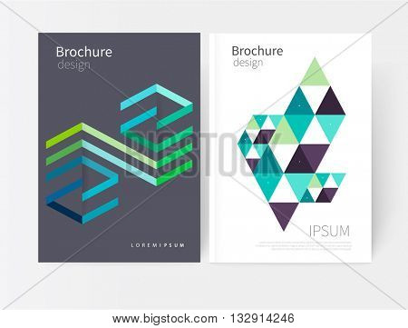Creative design geometric concept element. Vector set abstract  background green, blue and yellow Diagonal lines and triangles Modern White and grey  business brochure cover template