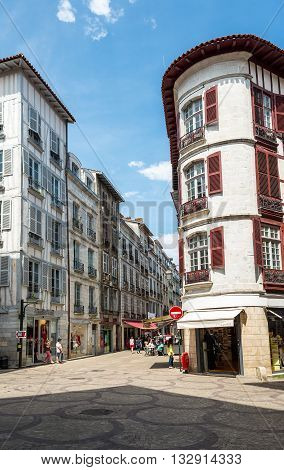 Bayonne France - May 21 2016: People in Rue Victor Hugo street one of the most typical street of Bayonne. Aquitaine France.