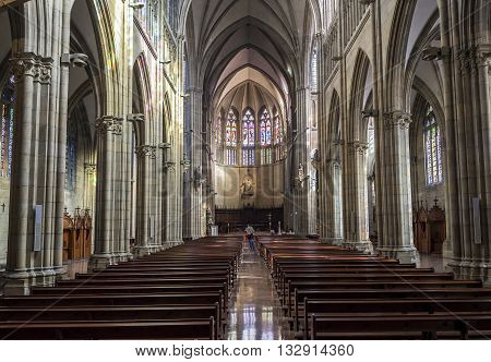 San Sebastian (Donostia) Spain - May 29 2016: Apse of nave of Cathedral of the Good Shepherd (Buen pastor) located in the city of San Sebastian Gipuzkoa Basque Country Spain.