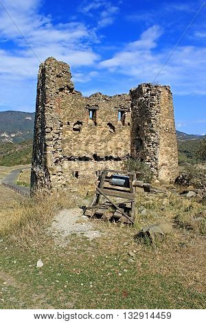 Ruins of tower of Jvari Monastery, a sixth century Georgian Orthodox monastery near Mtskheta, eastern Georgia