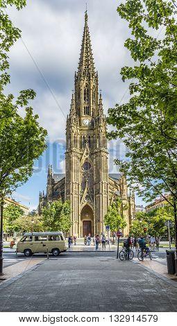 San Sebastian (Donostia) Spain - May 29 2016: Principal facade of Cathedral of the Good Shepherd (Buen pastor) located in the city of San Sebastian Gipuzkoa Basque Country Spain.