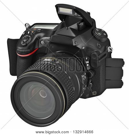 SLR photo camera, open flash, with professional optics. 3D graphic