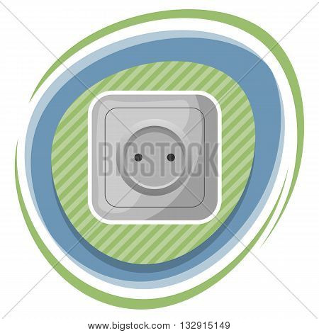 Power socket colorful icon. Vector illustration in cartoon style