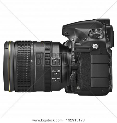 Digital SLR photo camera professional, side view. 3D graphic