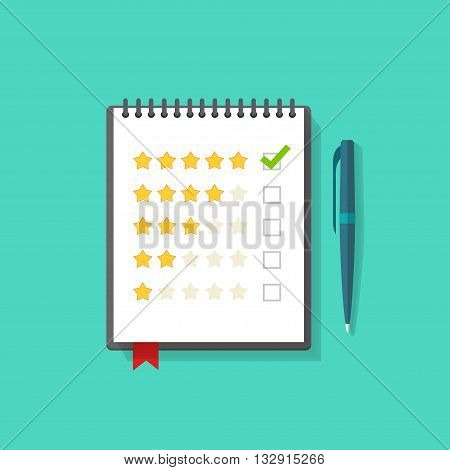 Notebook with rating stars and pen vector illustration, concept of satisfaction feedback, customer reviews, rating service, testimonials, voting, quality control modern flat design isolated on green
