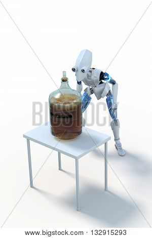 3D Rendering of a robot with a glass carboy of fermenting home-brewed beer on a small white table against a white background.