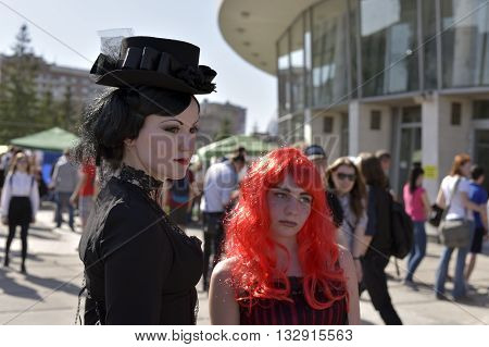 NOVOSIBIRSK, RUSSIA - JUNE 4, 2016: Young people dressed in costumes, having fun at the city festival,