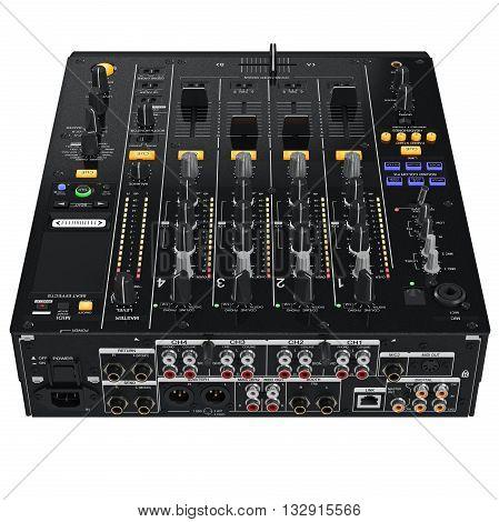 Digital dJ mixer table control panel. 3D graphic