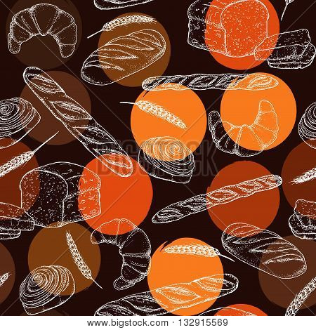 Bread, Seamless Pattern With Bakery Products, French Baguette, Croissant And Bun