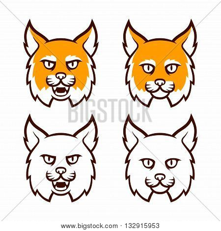 Cartoon bobcat head set. Traditional comic style lynx roaring and calm in color and line art. Isolated vector illustration.