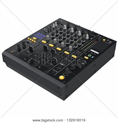 Digital dj mixer music with buttons control table parameters. 3D graphic