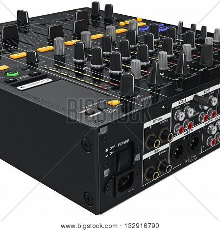 Back mixer control table panel black professional, zoomed view. 3D graphic