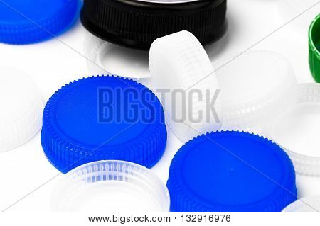 bottle lids for recycle on white background