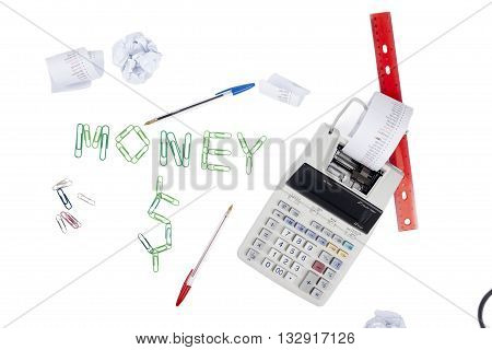 concept image for calculating money on white background