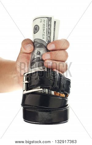 hand grip on the dollar on white background