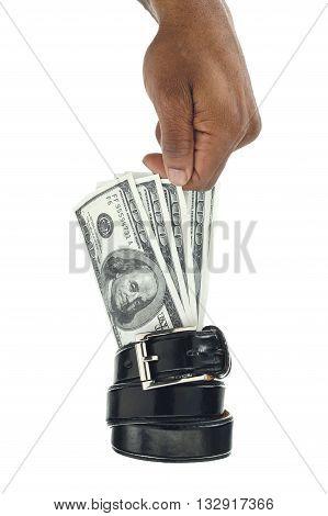 hand holding dollar bills on white background