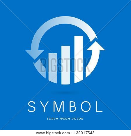 CORPORATE STATISTICS ICON / LOGO / THREE PROGRESS BARD IN A CIRCLE WITH TWO ARROWS , WHITE TRANSPARENT ON BLUE BACKGROUND
