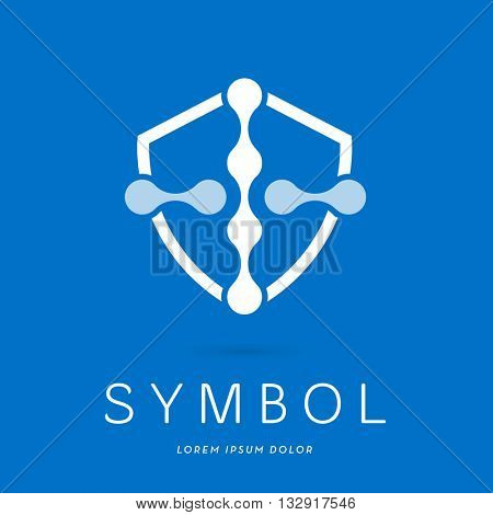 MOLECULE STRUCTURE INCORPORATED WITH A CROSS IN A SHIELD , LOGO / ICON , WHITE ON BLUE BACKGROUND