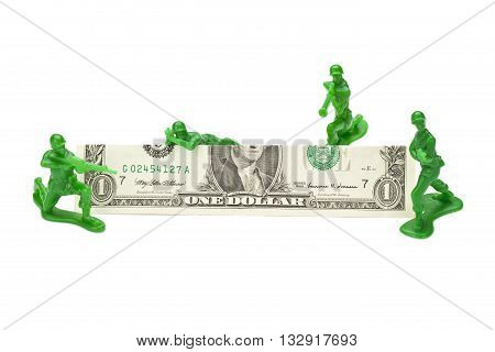 military miniatures and dollar isolated on white background