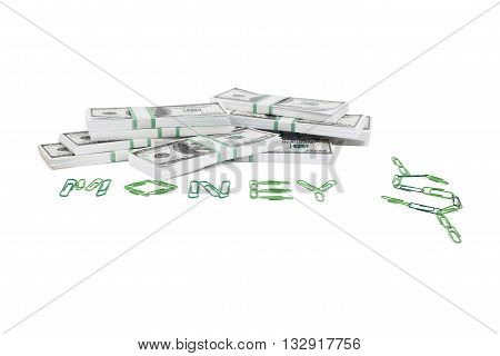 money and paper clips isolated on white background